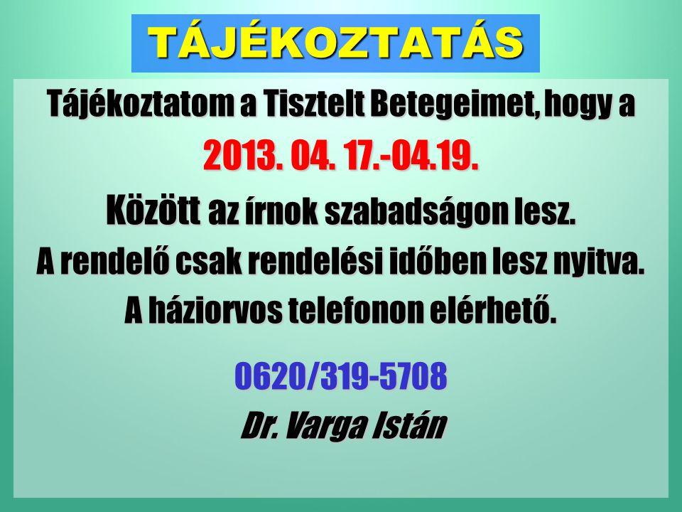 TÁJÉKOZTATÁS Tájékoztatom a Tisztelt Betegeimet, hogy a 2013.