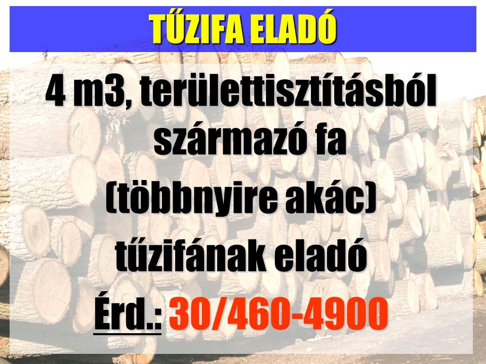 TŰZIFA ELADÓ 4 m3, területtisztításból származó fa (többnyire akác) tűzifának eladó Érd.: 30/460-4900