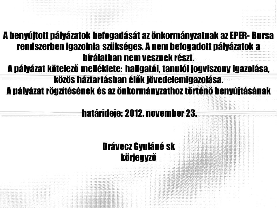 A benyújtott pályázatok befogadását az önkormányzatnak az EPER- Bursa rendszerben igazolnia szükséges. A nem befogadott pályázatok a bírálatban nem ve
