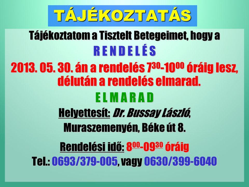 TÁJÉKOZTATÁS Tájékoztatom a Tisztelt Betegeimet, hogy a R E N D E L É S 2013.