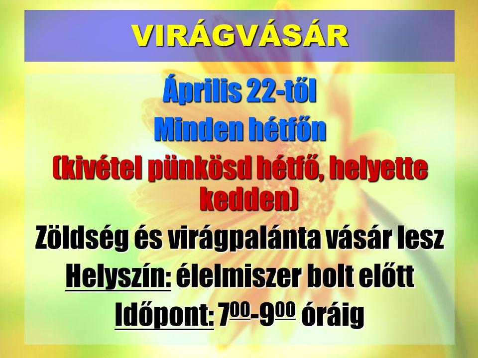 VIRÁGVÁSÁR Április 22-től Minden hétfőn (kivétel pünkösd hétfő, helyette kedden) Zöldség és virágpalánta vásár lesz Helyszín: élelmiszer bolt előtt Időpont: 700-900 óráig
