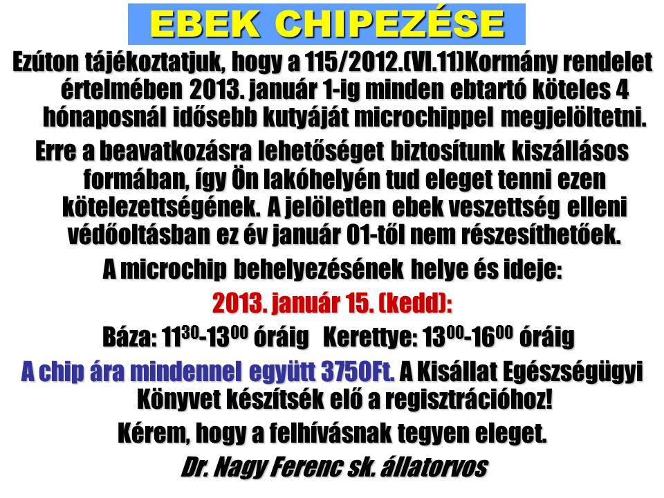 EBEK CHIPEZÉSE Ezúton tájékoztatjuk, hogy a 115/2012.(VI.11)Kormány rendelet értelmében 2013.