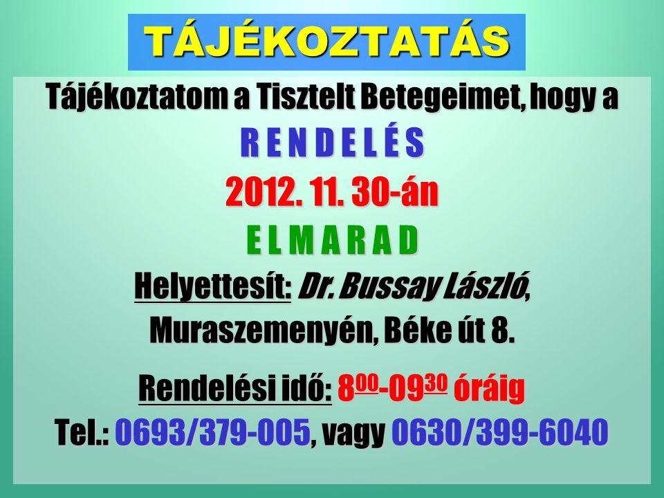 TÁJÉKOZTATÁS Tájékoztatom a Tisztelt Betegeimet, hogy a R E N D E L É S 2012.