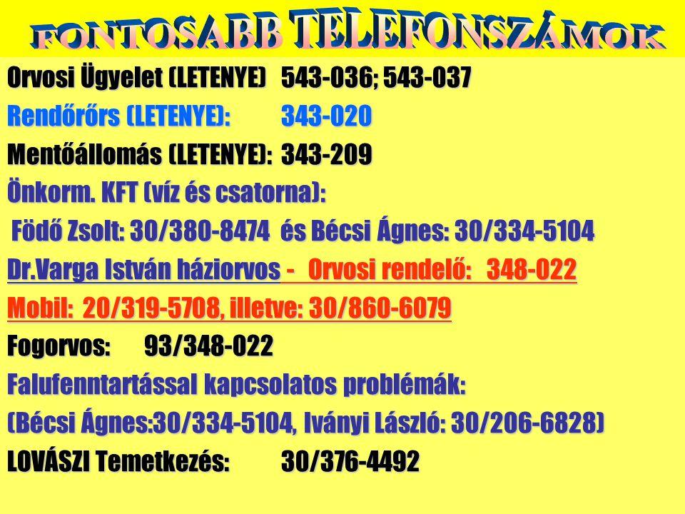 Orvosi Ügyelet (LETENYE)543-036; 543-037 Rendőrőrs (LETENYE):343-020 Mentőállomás (LETENYE):343-209 Önkorm. KFT (víz és csatorna): Födő Zsolt: 30/380-