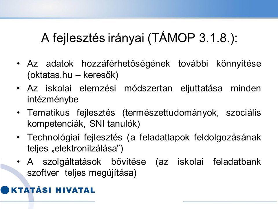 A fejlesztés irányai (TÁMOP 3.1.8.): Az adatok hozzáférhetőségének további könnyítése (oktatas.hu – keresők) Az iskolai elemzési módszertan eljuttatás
