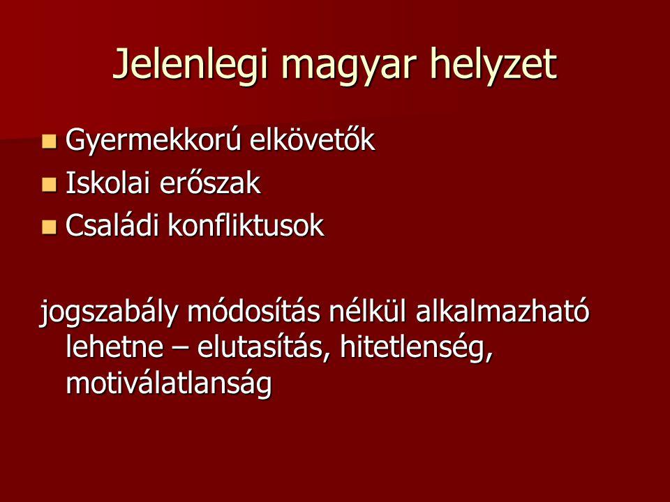 Jelenlegi magyar helyzet Gyermekkorú elkövetők Gyermekkorú elkövetők Iskolai erőszak Iskolai erőszak Családi konfliktusok Családi konfliktusok jogszab