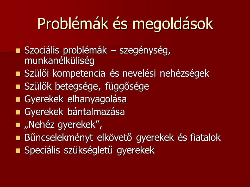 Problémák és megoldások Szociális problémák – szegénység, munkanélküliség Szociális problémák – szegénység, munkanélküliség Szülői kompetencia és neve