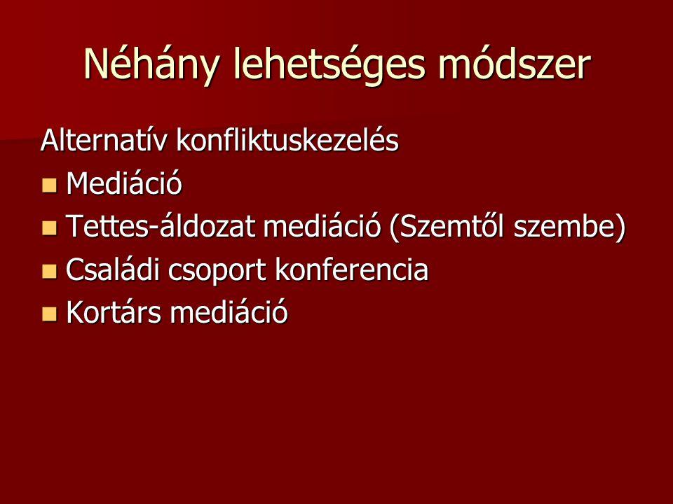 Néhány lehetséges módszer Alternatív konfliktuskezelés Mediáció Mediáció Tettes-áldozat mediáció (Szemtől szembe) Tettes-áldozat mediáció (Szemtől sze