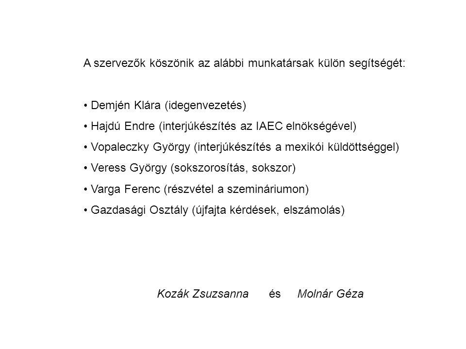 A szervezők köszönik az alábbi munkatársak külön segítségét: Demjén Klára (idegenvezetés) Hajdú Endre (interjúkészítés az IAEC elnökségével) Vopaleczky György (interjúkészítés a mexikói küldöttséggel) Veress György (sokszorosítás, sokszor) Varga Ferenc (részvétel a szemináriumon) Gazdasági Osztály (újfajta kérdések, elszámolás) Kozák Zsuzsanna és Molnár Géza