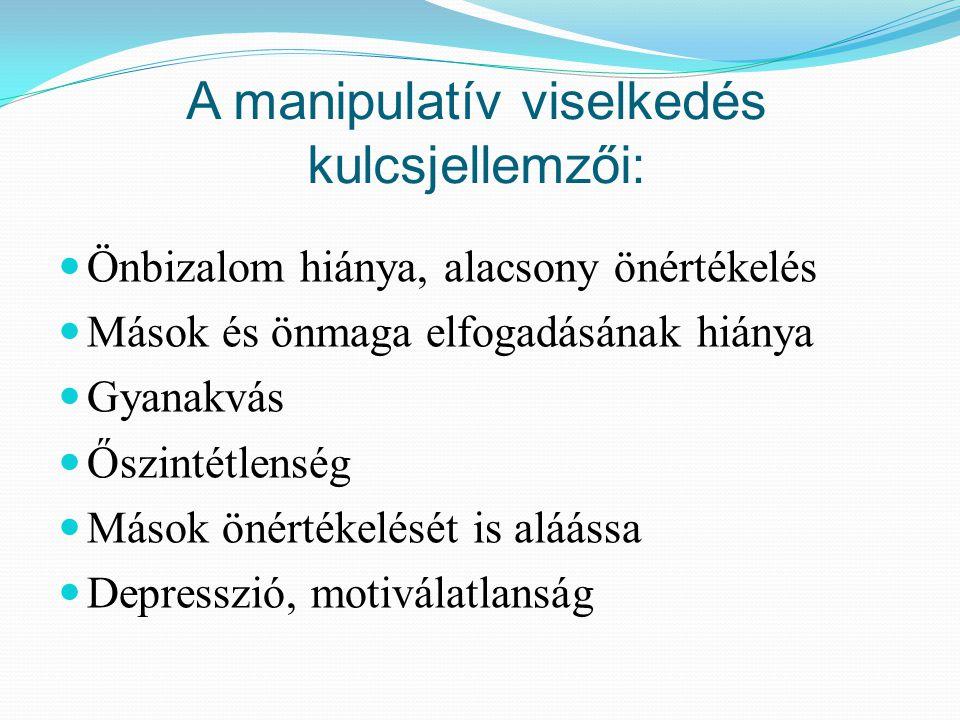 A manipulatív viselkedés kulcsjellemzői: Önbizalom hiánya, alacsony önértékelés Mások és önmaga elfogadásának hiánya Gyanakvás Őszintétlenség Mások ön