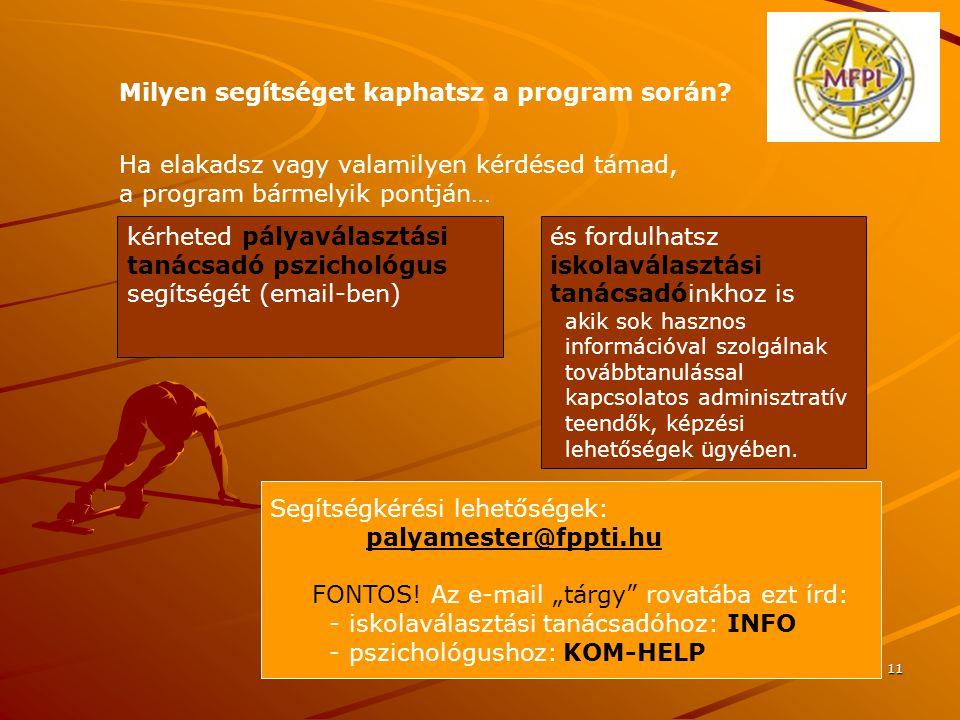 11 Segítségkérési lehetőségek: palyamester@fppti.hu FONTOS.