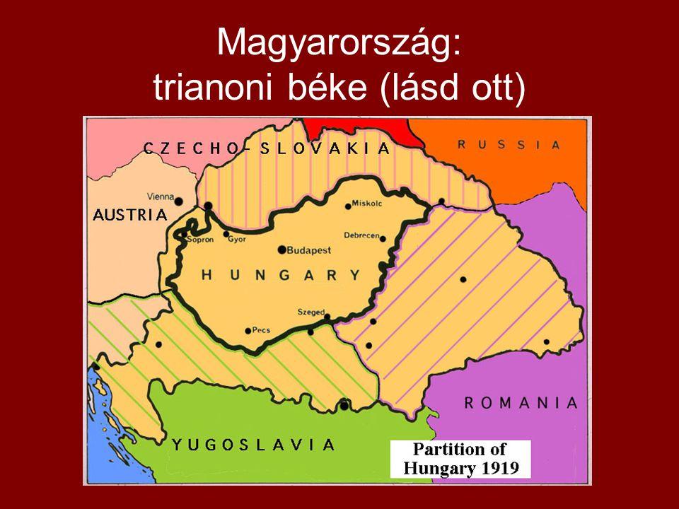 Magyarország: trianoni béke (lásd ott)