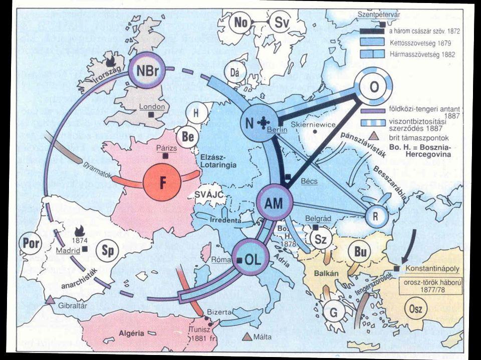 Berlini Kongresszus Berlini Kongresszus következményei 1879 után Az OMM megszállta (okkupálta) Bosznia- Hercegovinát Nagy-Bulgária jelentős területeket vesztett, Törökország megmaradt Románia (OMM és német orientáció) és Szerbia (oroszbarát állam) önállóságot kapott » A három császár szövetsége fellazult (OMM-No.)