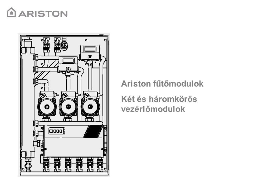 MGM-II-es fűtőmodul egység Cikkszám: 3318288 Műszaki leírás: -Egy magas és egy alacsonykör vezérlése -Bus kommunikáció Ariston Galileo (Új) kazánokkal -Dobozba beépítve hidraulikus váltóval együtt -Automata légtelenítő és leeresztő szelep -Szilárd tüzelésű kazán vezérlése -Három szobatermosztát és egy Climamanager csatlakoztatási lehetősége