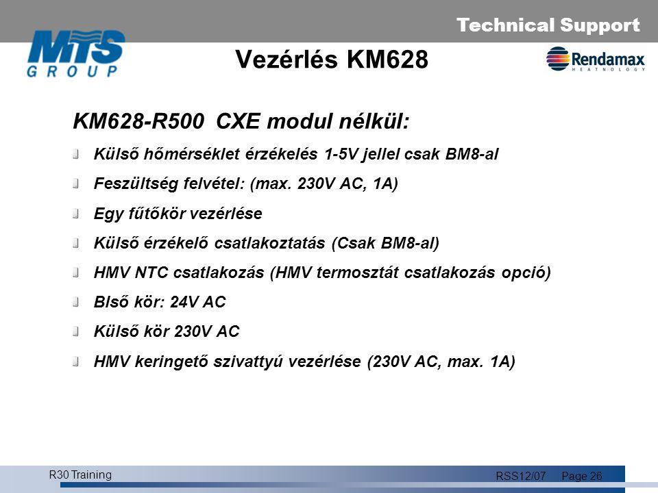 Technical Support R30 Training RSS12/07Page 27 Vezérlő: KM628-R500 Készenlét Téli üzemmód Nyári üzemmód Kéményseprő üzemmód Minimum.