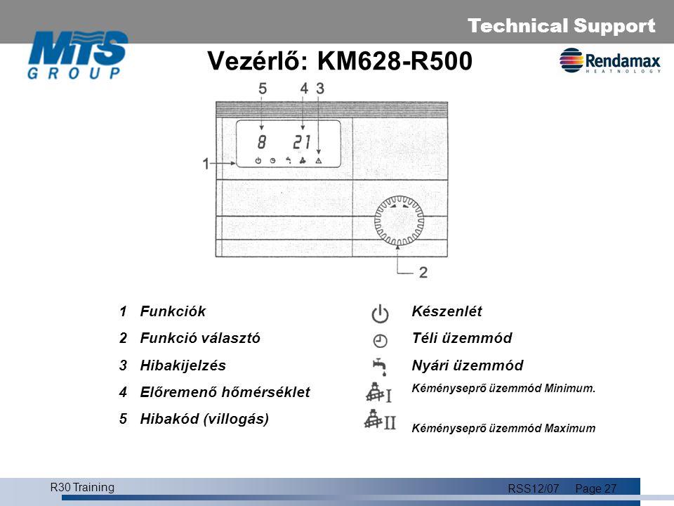 Technical Support R30 Training RSS12/07Page 28 Paraméter menü 1 Paraméter jelző  2 Optikai kapcsoló (nem használjuk) 3 Reset/Program gomb 4 Hibajelző 5 Paraméter tekerő gomb 6 Kimenő jel 7 Jelenlegi/kér paraméter 8 Hibakijlezés 9 Bemenő paraméter P1 Jelenlegi/beállított előremenő hőm.