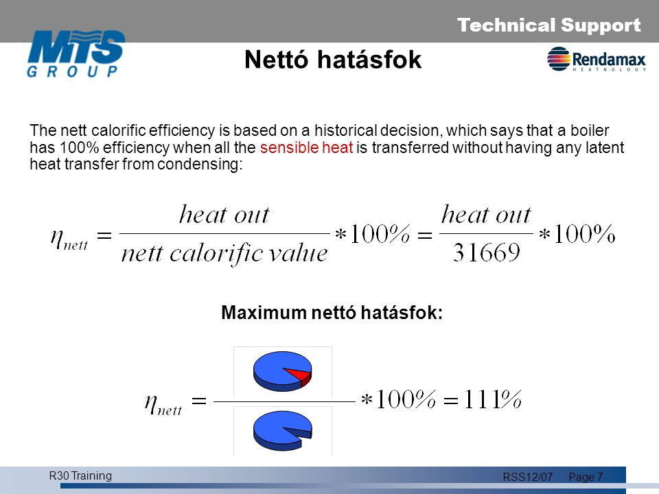 Technical Support R30 Training RSS12/07Page 7 Nettó hatásfok The nett calorific efficiency is based on a historical decision, which says that a boiler