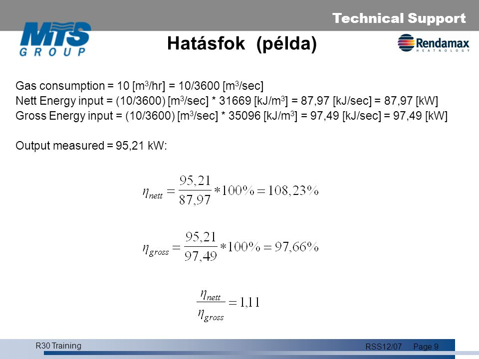 Technical Support R30 Training RSS12/07Page 10 R30 R30/45HR107 39 kW R30/65HR107 59 kW R30/85HR107 78 kW R30/100HR107 88 kW R30/120HR107110 kW # = maximális teljesítmény 40/30-on Modulációs tartomány 14/20% - 100% Alacsony No x Premix rendszer