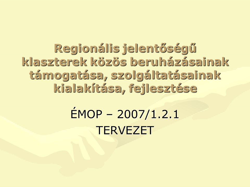 Regionális jelentőségű klaszterek közös beruházásainak támogatása, szolgáltatásainak kialakítása, fejlesztése ÉMOP – 2007/1.2.1 TERVEZET