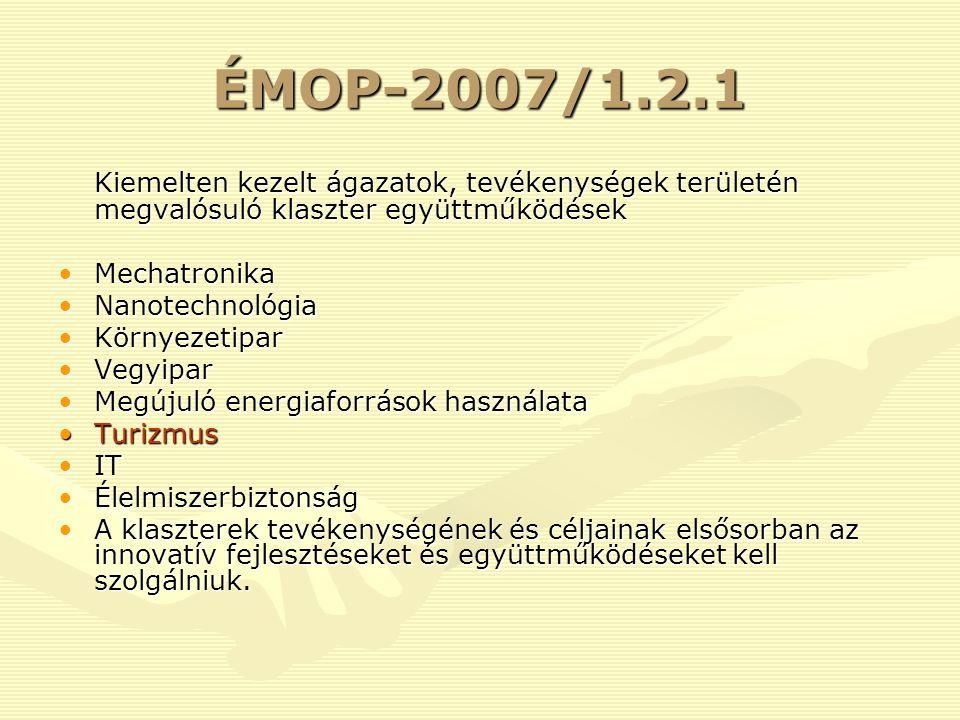 ÉMOP-2007/1.2.1 Kiemelten kezelt ágazatok, tevékenységek területén megvalósuló klaszter együttműködések MechatronikaMechatronika NanotechnológiaNanotechnológia KörnyezetiparKörnyezetipar VegyiparVegyipar Megújuló energiaforrások használataMegújuló energiaforrások használata TurizmusTurizmus ITIT ÉlelmiszerbiztonságÉlelmiszerbiztonság A klaszterek tevékenységének és céljainak elsősorban az innovatív fejlesztéseket és együttműködéseket kell szolgálniuk.A klaszterek tevékenységének és céljainak elsősorban az innovatív fejlesztéseket és együttműködéseket kell szolgálniuk.