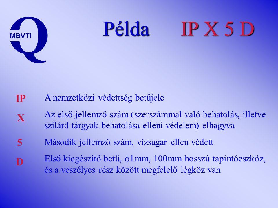 Példa IP X 4 D Q MBVTI IP X A nemzetközi védettség betűjele Az első jellemző szám (szerszámmal való behatolás, illetve szilárd tárgyak behatolása elle