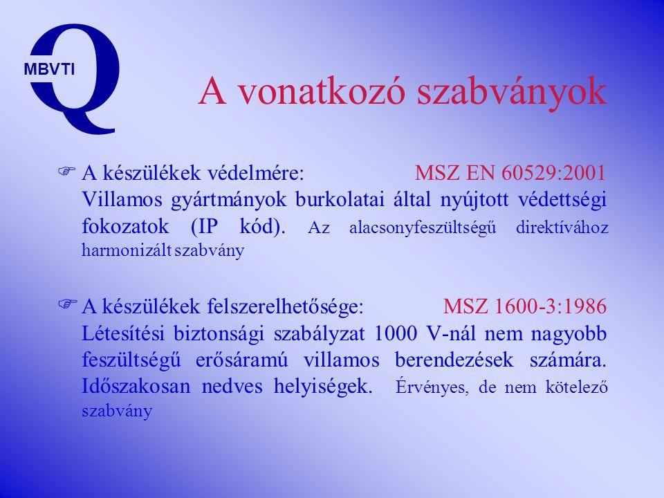 A vonatkozó szabványok  A készülékek védelmére: MSZ EN 60529:2001 Villamos gyártmányok burkolatai által nyújtott védettségi fokozatok (IP kód).
