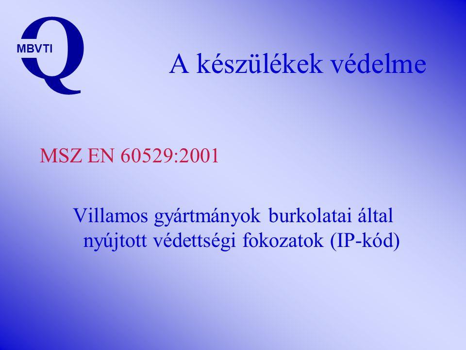 A készülékek védelme Q MBVTI MSZ EN 60529:2001 Villamos gyártmányok burkolatai által nyújtott védettségi fokozatok (IP-kód)