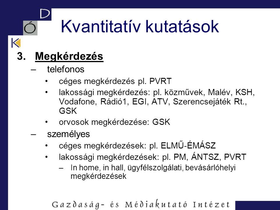 Kvantitatív kutatások 3. Megkérdezés –telefonos céges megkérdezés pl. PVRT lakossági megkérdezés: pl. közművek, Malév, KSH, Vodafone, Rádió1, EGI, ATV