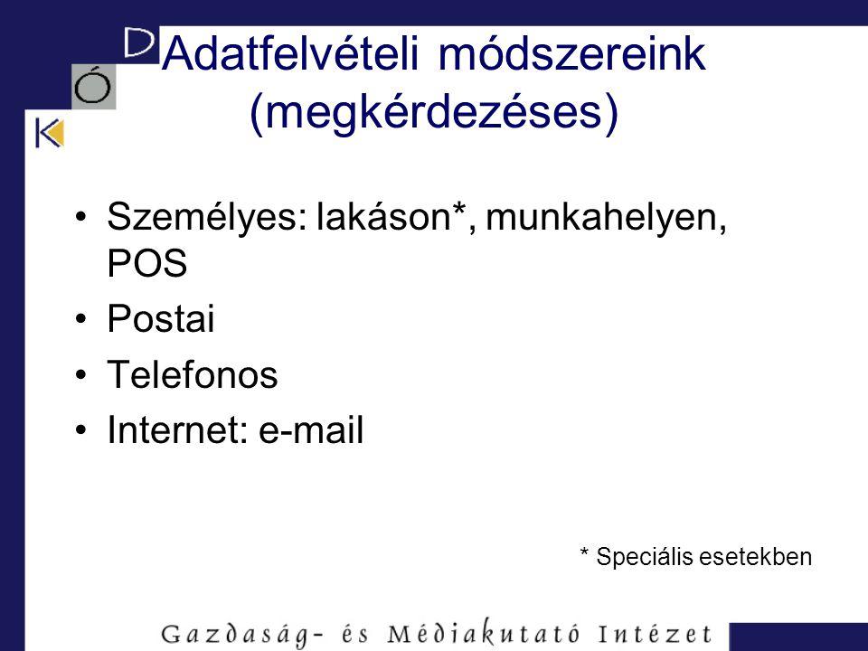 Adatfelvételi módszereink (megkérdezéses) Személyes: lakáson*, munkahelyen, POS Postai Telefonos Internet: e-mail * Speciális esetekben
