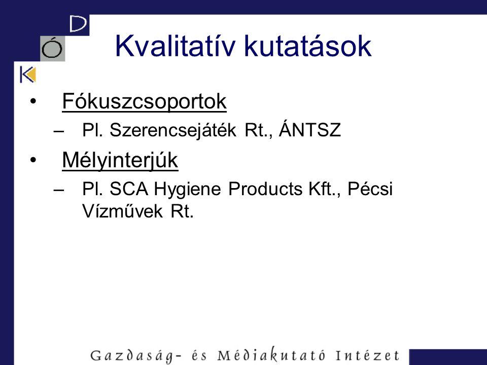 Kvalitatív kutatások Fókuszcsoportok –Pl. Szerencsejáték Rt., ÁNTSZ Mélyinterjúk –Pl. SCA Hygiene Products Kft., Pécsi Vízművek Rt.