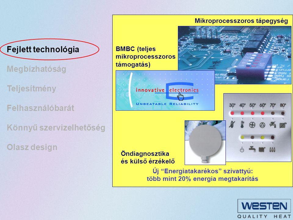 HMV tartályos készülékek Nagy mennyiségű víz magas hőmérsékleten akár 450 liter melegvíz 30 perc alatt (  T 30°C): ideális megoldás különböző időpontban történő nagy mennyiségű melegvíz vételhez Nagy mennyiségű víz magas hőmérsékleten akár 450 liter melegvíz 30 perc alatt (  T 30°C): ideális megoldás különböző időpontban történő nagy mennyiségű melegvíz vételhez A tartály újratöltése csak 4 percet vesz igénybe A tartály újratöltése csak 4 percet vesz igénybe Dupla CPU mikroprocesszor a magasabb teljesítmény optimalizáláshoz Dupla CPU mikroprocesszor a magasabb teljesítmény optimalizáláshoz Recirkulációs készlet rendelhető Recirkulációs készlet rendelhető Automatikus beépített by-pass Automatikus beépített by-pass Baktérium mentesítő funkció Baktérium mentesítő funkció Modellek: 24 kW Kéményes és zárt égésterű 28 kW Kéményes és zárt égésterű Hőmérséklet kijelző led Könnyű ellenőrzés: egyszerű hibafeltárás Fagyvédelmi funkció Két lehetséges hőmérséklet tartomány Külső hőmérsékletérzékelő Rozsdamentes acél tartály AISI 316 L