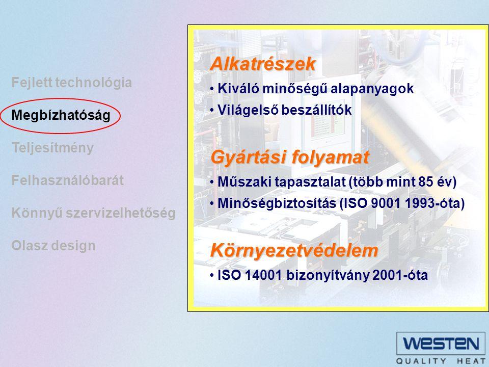 Fejlett technológia Megbízhatóság Teljesítmény Felhasználóbarát Könnyű szervizelhetőség Olasz design Nagyfokú biztonság Minden kazán több mint 90%-os hatásfok- kal üzemel (kondenzációs készülékek akár 109,8%-kal) Kiemelkedő melegvíz hozam 31 kW-os készülék 18 liter vizet ad percenként (  T 25°C).