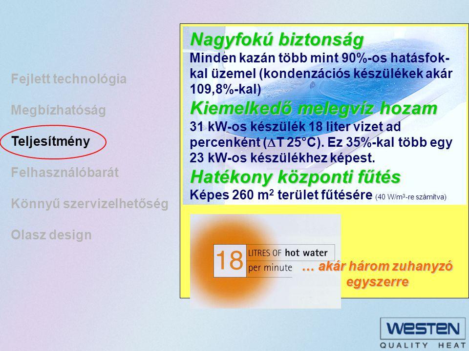 Fejlett technológia Megbízhatóság Teljesítmény Felhasználóbarát Könnyű szervizelhetőség Olasz design Zajmentes működés Zajmentes működés Elektronikus hőfokmérő Elektronikus hőfokmérő Fűtési víznyomás kijelzése Fűtési víznyomás kijelzése Kazán működését jelző ledek Kazán működését jelző ledek