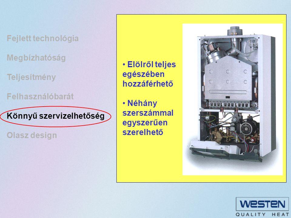Fejlett technológia Megbízhatóság Teljesítmény Felhasználóbarát Könnyű szervizelhetőség Olasz design
