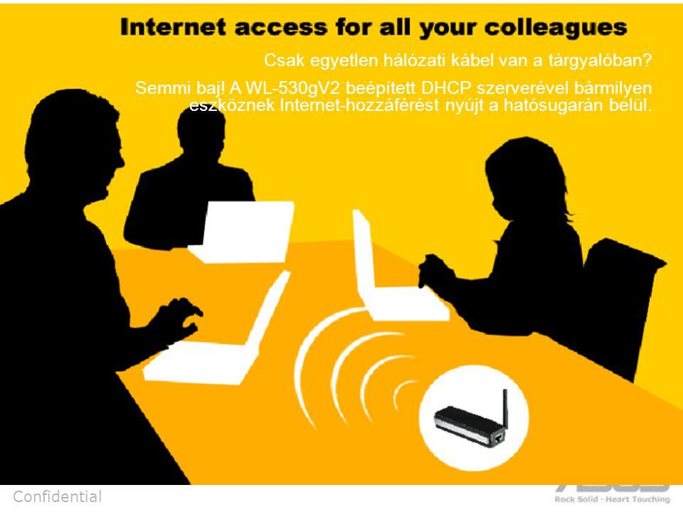 Confidential Csak egyetlen hálózati kábel van a tárgyalóban.
