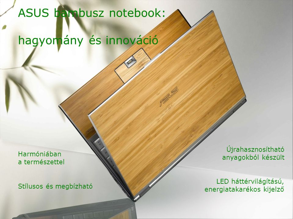 Stílusos és megbízható ASUS bambusz notebook: hagyomány és innováció LED háttérvilágítású, energiatakarékos kijelző Újrahasznosítható anyagokból készült Harmóniában a természettel