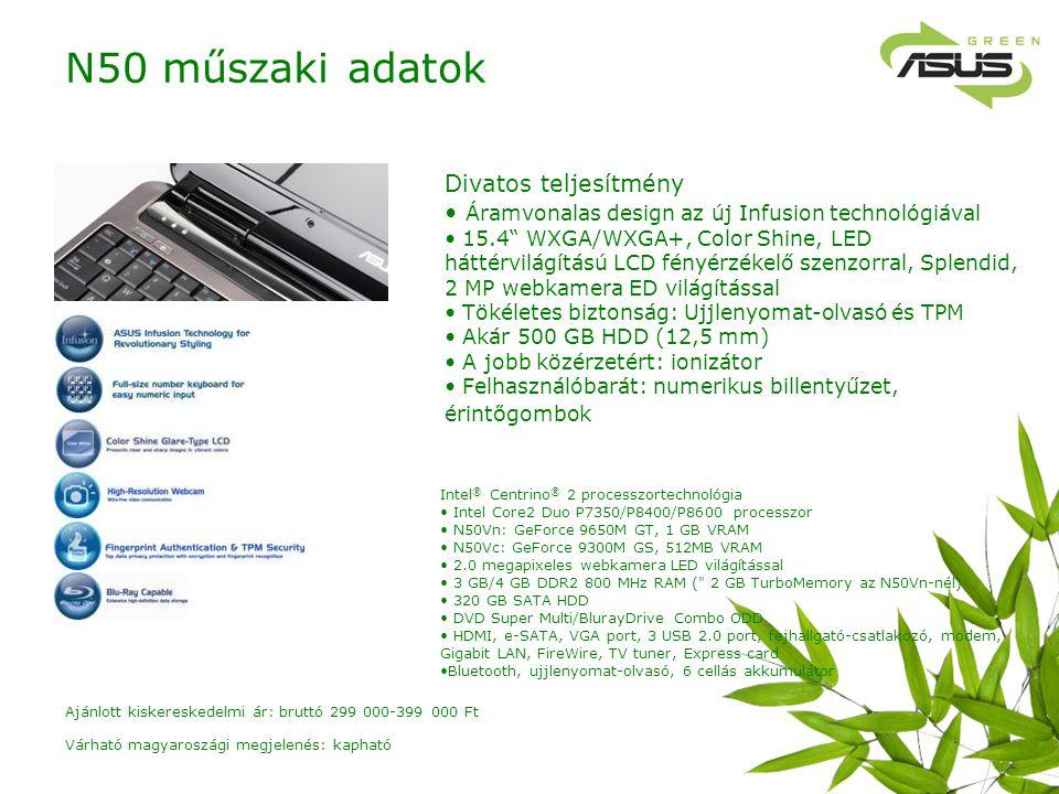 Divatos teljesítmény Áramvonalas design az új Infusion technológiával 15.4 WXGA/WXGA+, Color Shine, LED háttérvilágítású LCD fényérzékelő szenzorral, Splendid, 2 MP webkamera ED világítással Tökéletes biztonság: Ujjlenyomat-olvasó és TPM Akár 500 GB HDD (12,5 mm) A jobb közérzetért: ionizátor Felhasználóbarát: numerikus billentyűzet, érint ő gombok Intel ® Centrino ® 2 processzortechnológia Intel Core2 Duo P7350/P8400/P8600 processzor N50Vn: GeForce 9650M GT, 1 GB VRAM N50Vc: GeForce 9300M GS, 512MB VRAM 2.0 megapixeles webkamera LED világítással 3 GB/4 GB DDR2 800 MHz RAM ( 2 GB TurboMemory az N50Vn-nél) 320 GB SATA HDD DVD Super Multi/BlurayDrive Combo ODD HDMI, e-SATA, VGA port, 3 USB 2.0 port, fejhallgató-csatlakozó, modem, Gigabit LAN, FireWire, TV tuner, Express card Bluetooth, ujjlenyomat-olvasó, 6 cellás akkumulátor N50 műszaki adatok Várható magyaroszági megjelenés: kapható Ajánlott kiskereskedelmi ár: bruttó 299 000-399 000 Ft