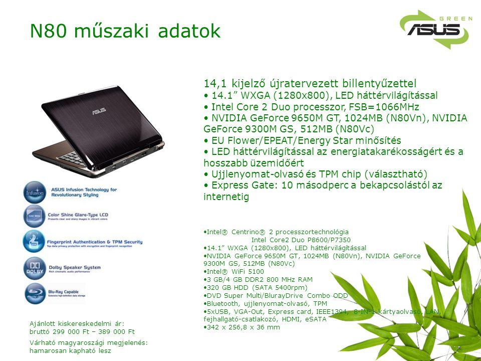 14,1 kijelző újratervezett billentyűzettel 14.1 WXGA (1280x800), LED háttérvilágítással Intel Core 2 Duo processzor, FSB=1066MHz NVIDIA GeForce 9650M GT, 1024MB (N80Vn), NVIDIA GeForce 9300M GS, 512MB (N80Vc) EU Flower/EPEAT/Energy Star minősítés LED háttérvilágítással az energiatakarékosságért és a hosszabb üzemidőért Ujjlenyomat-olvasó és TPM chip (választható) Express Gate: 10 másodperc a bekapcsolástól az internetig Intel® Centrino® 2 processzortechnológia Intel Core2 Duo P8600/P7350 14.1 WXGA (1280x800), LED háttérvilágítással NVIDIA GeForce 9650M GT, 1024MB (N80Vn), NVIDIA GeForce 9300M GS, 512MB (N80Vc) Intel® WiFi 5100 3 GB/4 GB DDR2 800 MHz RAM 320 GB HDD (SATA 5400rpm) DVD Super Multi/BlurayDrive Combo ODD Bluetooth, ujjlenyomat-olvasó, TPM 5xUSB, VGA-Out, Express card, IEEE1394, 8-IN-1 kártyaolvasó, LAN, fejhallgató-csatlakozó, HDMI, eSATA 342 x 256,8 x 36 mm N80 műszaki adatok Várható magyaroszági megjelenés: hamarosan kapható lesz Ajánlott kiskereskedelmi ár: bruttó 299 000 Ft – 389 000 Ft