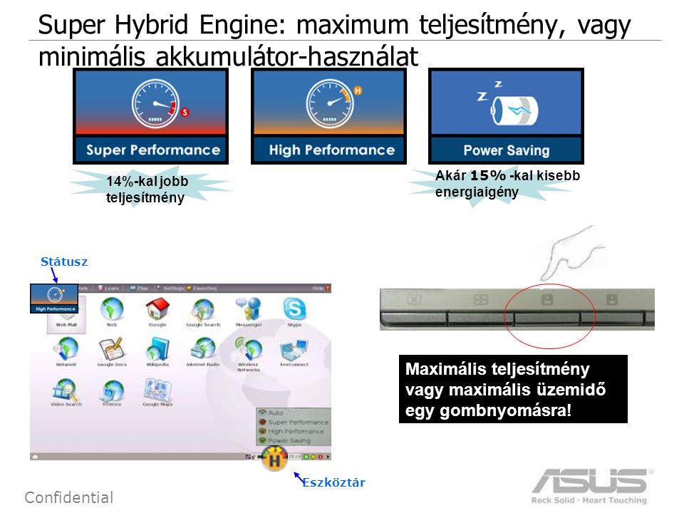 4 Confidential Státusz Eszköztár Super Hybrid Engine: maximum teljesítmény, vagy minimális akkumulátor-használat 14%-kal jobb teljesítmény Akár 15% -kal kisebb energiaigény Maximális teljesítmény vagy maximális üzemidő egy gombnyomásra!