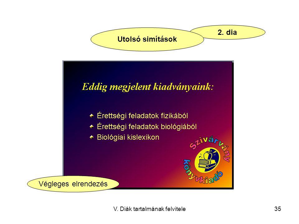 V. Diák tartalmának felvitele35 2. dia Utolsó simítások Végleges elrendezés