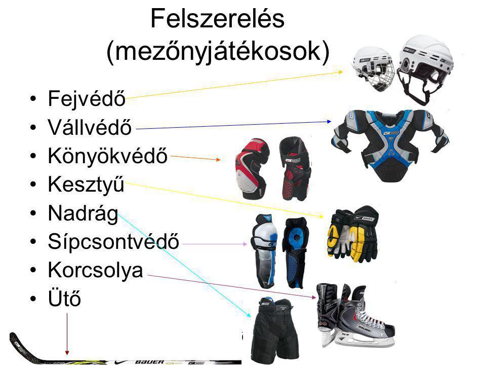 Felszerelés (mezőnyjátékosok) Fejvédő Vállvédő Könyökvédő Kesztyű Nadrág Sípcsontvédő Korcsolya Ütő