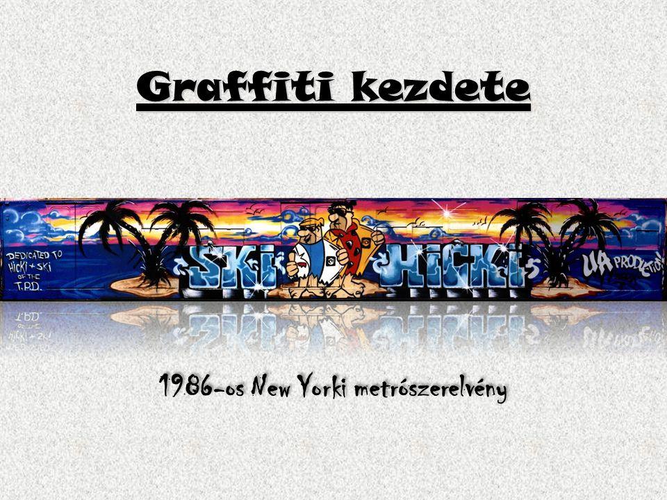 Graffiti kezdete 1986-os New Yorki metrószerelvény