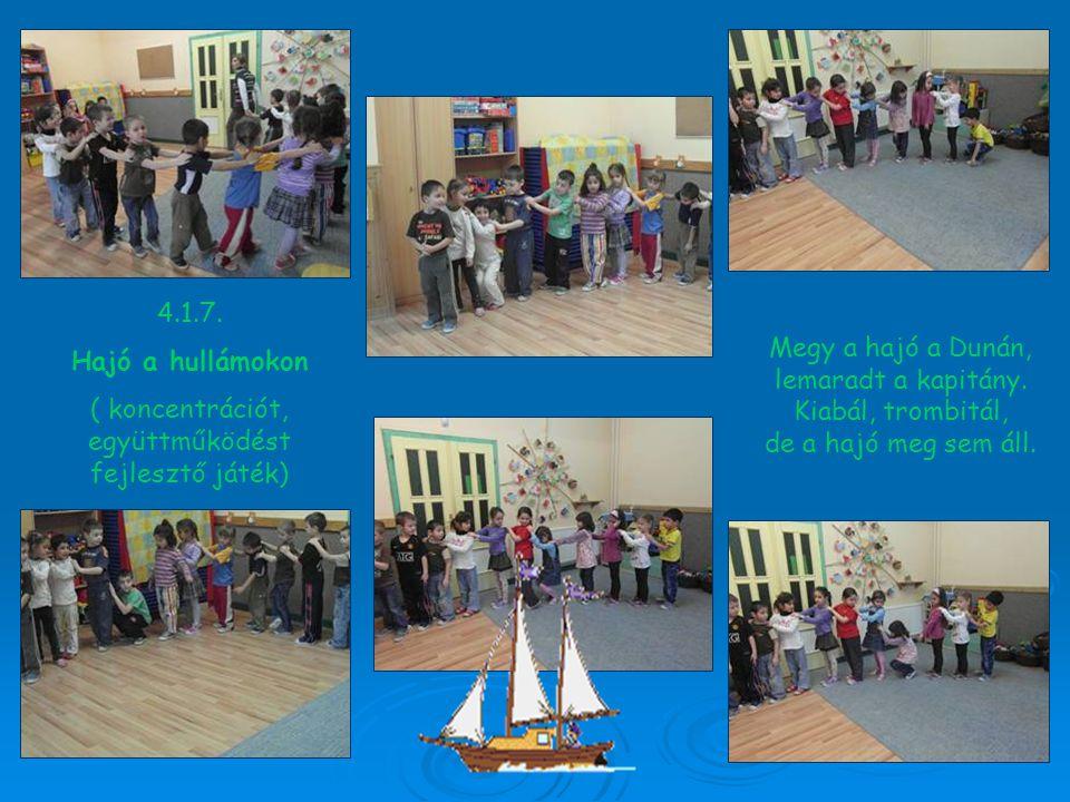 4.1.7. Hajó a hullámokon ( koncentrációt, együttműködést fejlesztő játék) Megy a hajó a Dunán, lemaradt a kapitány. Kiabál, trombitál, de a hajó meg s
