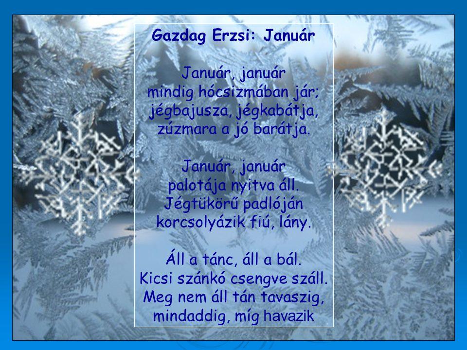 Gazdag Erzsi: Január Január, január mindig hócsizmában jár; jégbajusza, jégkabátja, zúzmara a jó barátja. Január, január palotája nyitva áll. Jégtükör