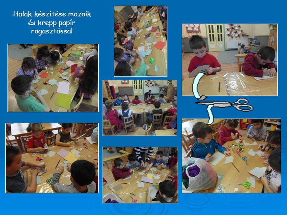 Halak készítése mozaik és krepp papír ragasztással