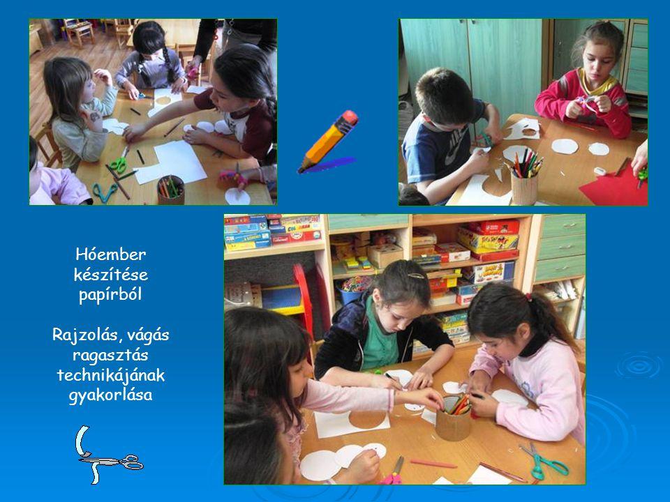 Hóember készítése papírból Rajzolás, vágás ragasztás technikájának gyakorlása