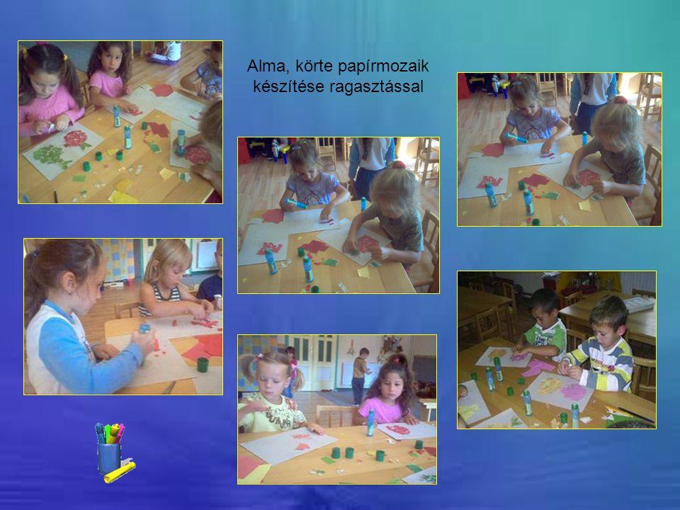 Alma, körte papírmozaik készítése ragasztással