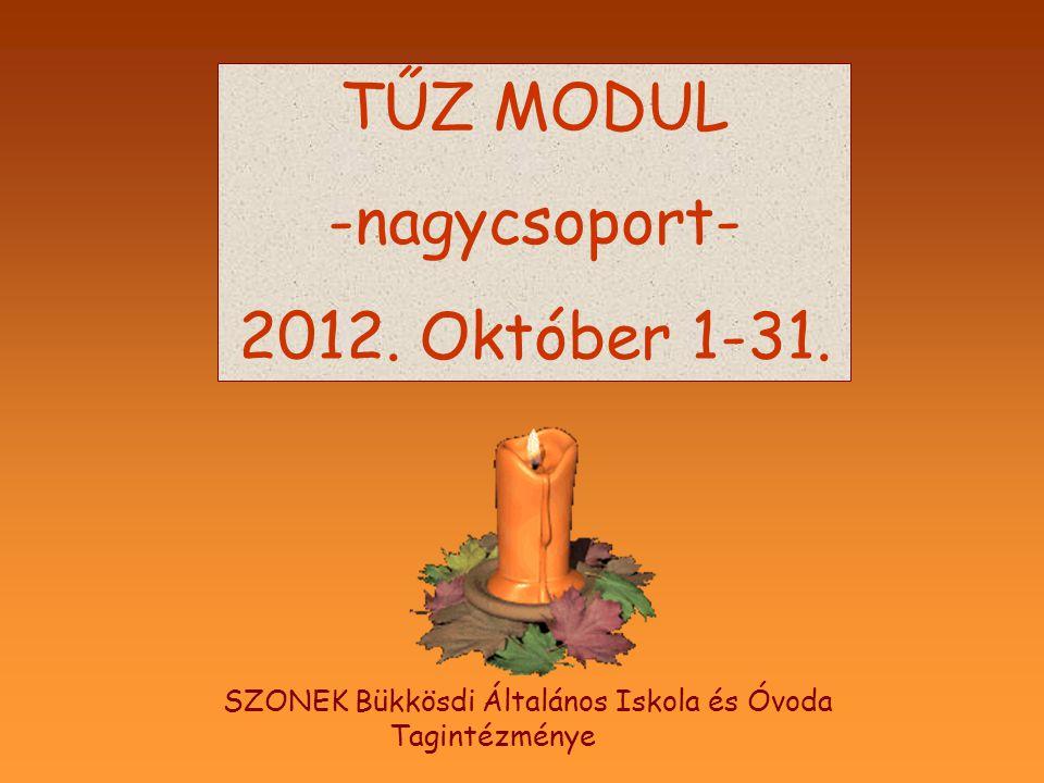 TŰZ MODUL -nagycsoport- 2012. Október 1-31. SZONEK Bükkösdi Általános Iskola és Óvoda Tagintézménye