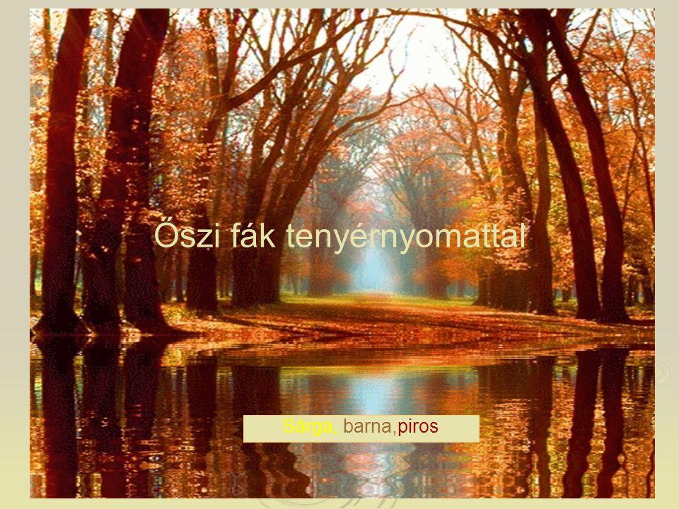 Őszi fák tenyérnyomattal Sárga, barna,piros
