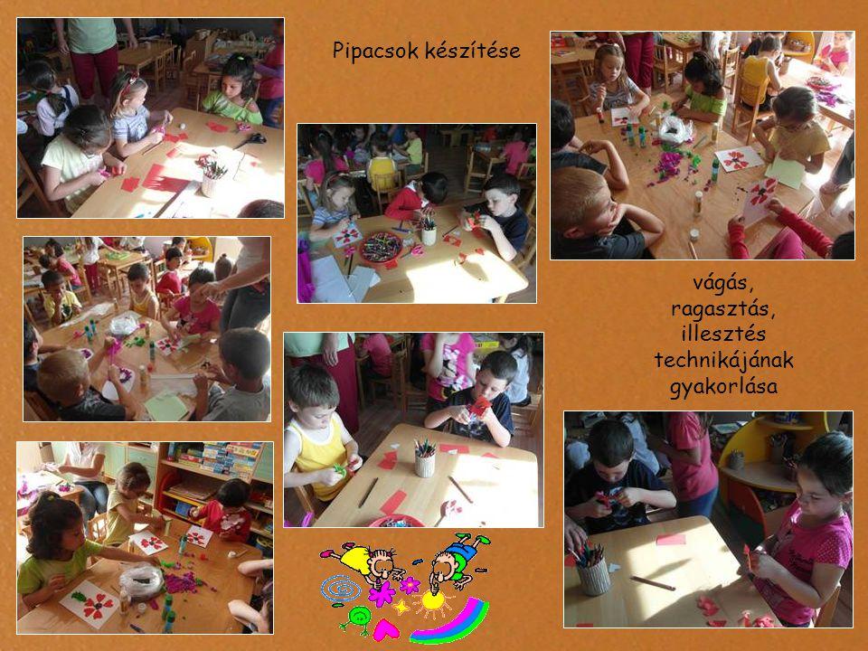 Pipacsok készítése vágás, ragasztás, illesztés technikájának gyakorlása